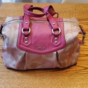 Pink  Dotted Ashley Coach Satchel